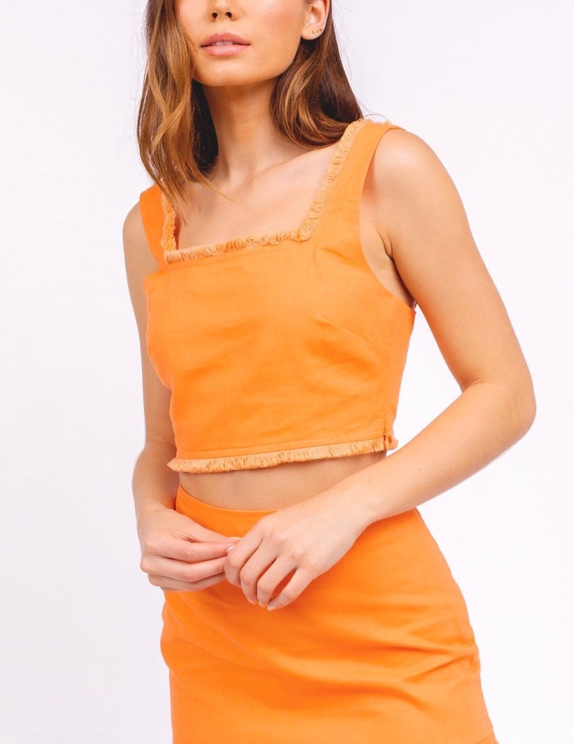 Linen Square Neck Fray Sleeveless Crop Top