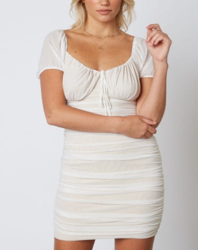 Mesh Nude Lined Ruched Dress