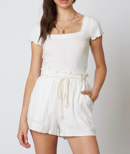 Cuffed Linen High Waisted Paper Bag Belted Shorts