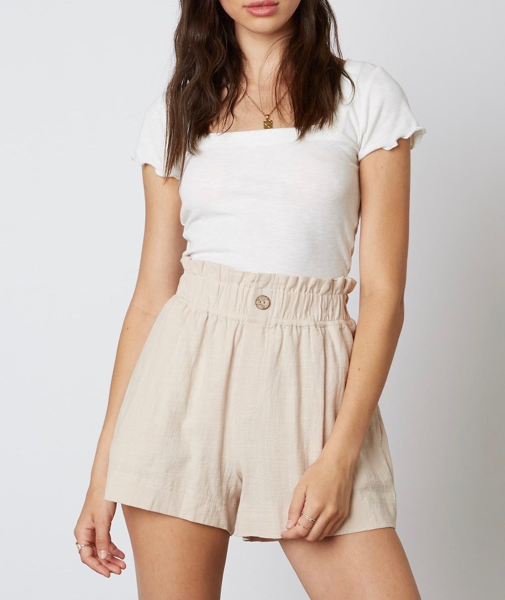 Linen High Waist Paper Bag Two Pocket Shorts