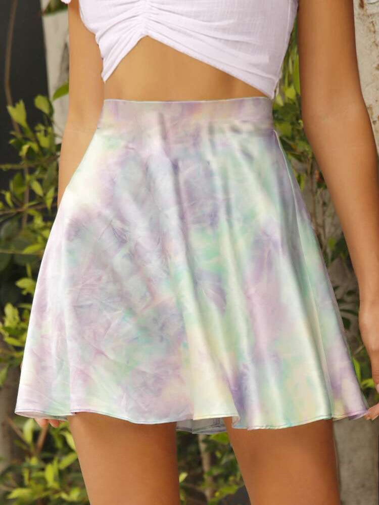 Tie Dye Satin Bias Cut Mini Skort