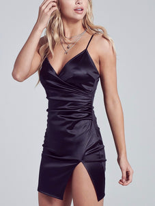 Ruched Faux Wrap Mini Dress