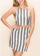 Load image into Gallery viewer, Stripe High Waist Button Two Pocket Skort