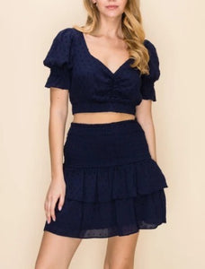 Swiss Dot Smocked Tiered Ruffle Mini Skirt