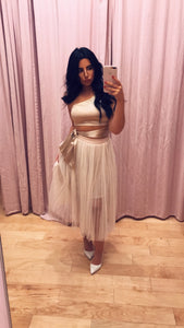 One Shoulder Tie Waist Crop Top