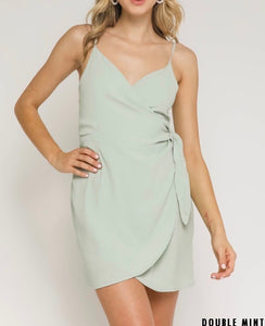 Wrap Tie V Neck Mini Dress