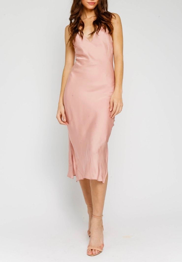 Satin V Neck Bias Cut Midi Dress