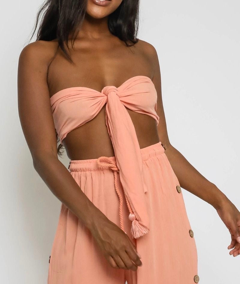 Tie Front Strapless Bandeau Crop Top