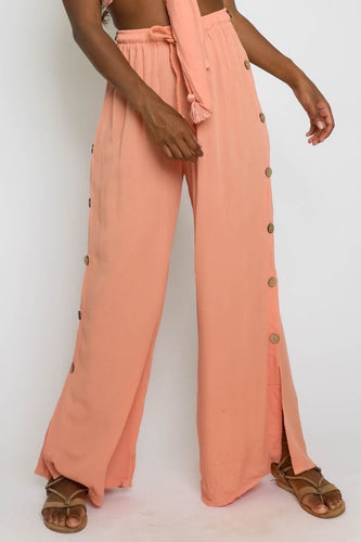 Side Button High Waisted Wide Leg Pants