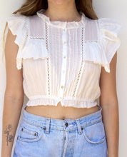 Load image into Gallery viewer, Pearl Button Ruffle Elastic Waist Sleeveless Crop Top