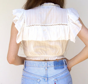 Pearl Button Ruffle Elastic Waist Sleeveless Crop Top