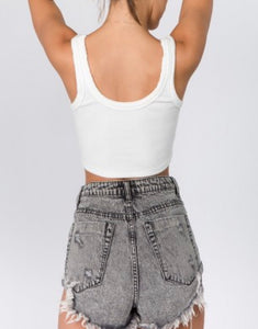 Ribbed Jersey Tank Crop Top