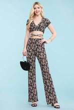 Load image into Gallery viewer, Floral Faux Wrap Short Sleeve V Neck Tie Crop Top