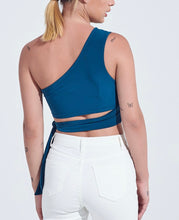 Load image into Gallery viewer, One Shoulder Tie Waist Crop Top