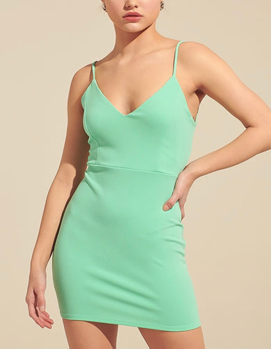 Spaghetti Strap Open Tie Back Mini Dress