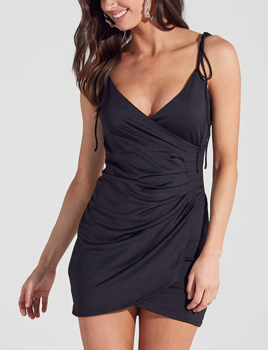 Tie Shoulder V Neck Faux Wrap Bodycon Dress