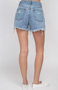 Denim Light Wash Mom Distressed High Waisted Jean Shorts