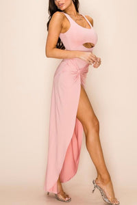 Sleeveless Cut Out Twist Leg Slit Dress