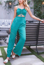 Load image into Gallery viewer, Center Ruch Smocked Back Wide Leg Jumpsuit