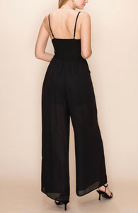 Center Ruch Smocked Back Wide Leg Jumpsuit