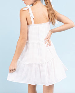 Tie Strap Textured Shift Mini Dress