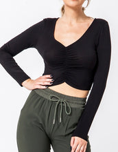 Load image into Gallery viewer, V Neck Ruched Front Long Sleeve Crop Top