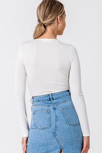 V Neck Ruched Front Long Sleeve Crop Top