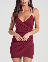 Load image into Gallery viewer, Tie Shoulder V Neck Faux Wrap Bodycon Dress