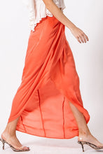 Load image into Gallery viewer, Satin Drape Front Tulip Maxi Skirt