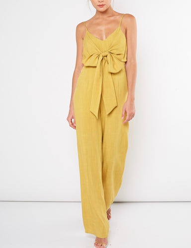 Two Pocket Tie Front Jumpsuit