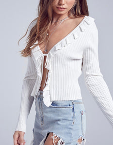Ruffle Tie Ribbed Cardigan Sweater