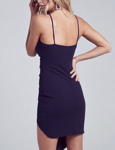 Spaghetti Strap Front Slit Layer Mini Dress