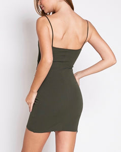 Stretch Spaghetti Strap Asymmetrical Hem Mini Dress