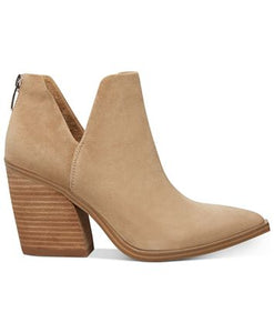 "Suede Ankle Vnotch Side Cutouts Pointed Toe 33/4"" Block Heel Back Zipper Boot"