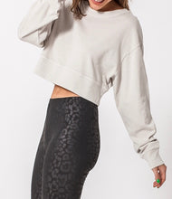 Load image into Gallery viewer, Crew Neck Drop Shoulder Cropped Sweatshirt