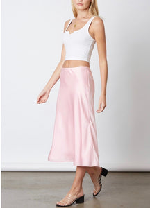 Satin Bias Cut Lined Midi Skirt