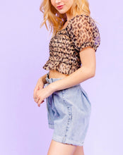 Load image into Gallery viewer, Leopard Square Neck Puff Sleeve Sheer Smocked Mesh Crop Top