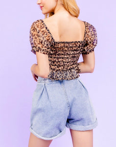 Leopard Square Neck Puff Sleeve Sheer Smocked Mesh Crop Top