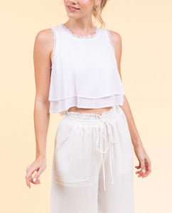 Double Layer Fringe Trim Sleeveless Crop Top