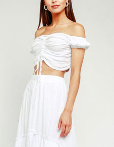 Off The Shoulder Ruched Front Tie Crop Top