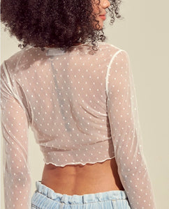 Long Sleeve Lettuce Edge Tie Polka Dot Mesh Crop Top