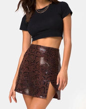 Load image into Gallery viewer, Snake Print Eco Leather Slit Mini Skirt