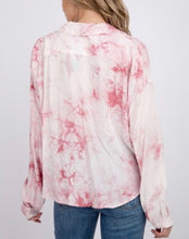 Load image into Gallery viewer, Bleach Tie Dye Drop Shoulder Button Collared Shirt