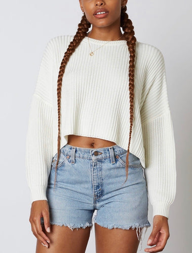 Ribbed Crew Neck Drop Shoulder Long Sleeve Cropped Sweater