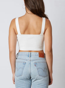 Ribbed Square Neck Knit Sleeveless Crop Top