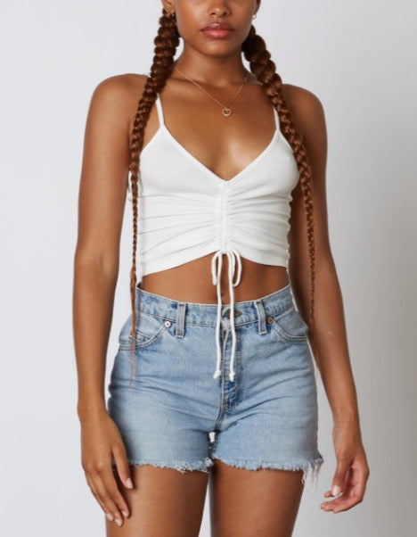 Spaghetti Strap Ruched Tie Crop Top