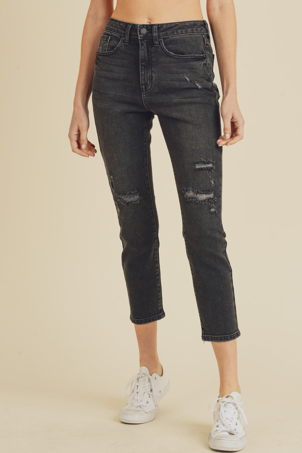 Washed High Rise Straight Leg Distressed Jeans