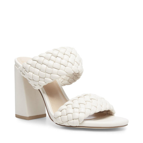 Leather Woven Stacked Heel Mule Sandal