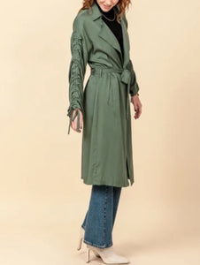 Ruched Tie Sleeve Trench Coat