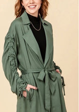 Load image into Gallery viewer, Ruched Tie Sleeve Trench Coat